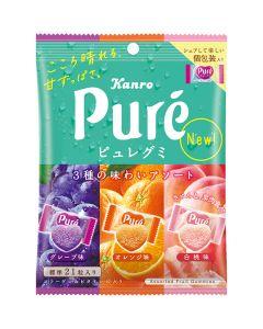 Kanro Pure Gummy Assorted Fruit Flavor (Grape & Orange & Peach) 77g