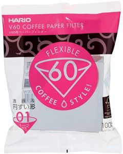 Hario V60 Paper Coffee Filters, Size 01, White, Tabbed