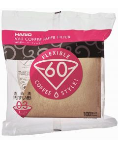 Hario V60 Paper Coffee Filters, Size 03, Natural, Untabbed