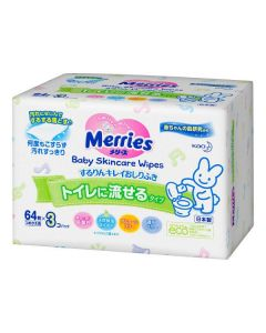 KAO Merries Baby Skincare Wipes Flushable (64pc x 3)