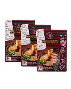 ICHIRAN Ramen Hakata-Style Thin Noddles (5 pack) (Pack of 3) (Best by 2021.11.26)